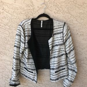 Anthropologie black and white tweed like blazer